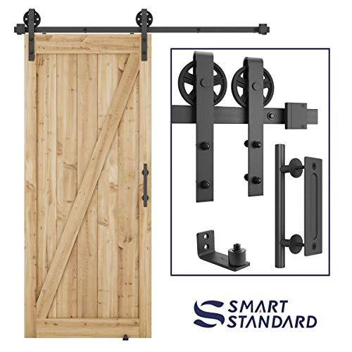 (6ft Heavy Duty Sliding Barn Door Hardware Kit, 6ft Single Rail, Black, (Whole Set Includes 1x Pull Handle Set & 1x Floor Guide) Fit 36