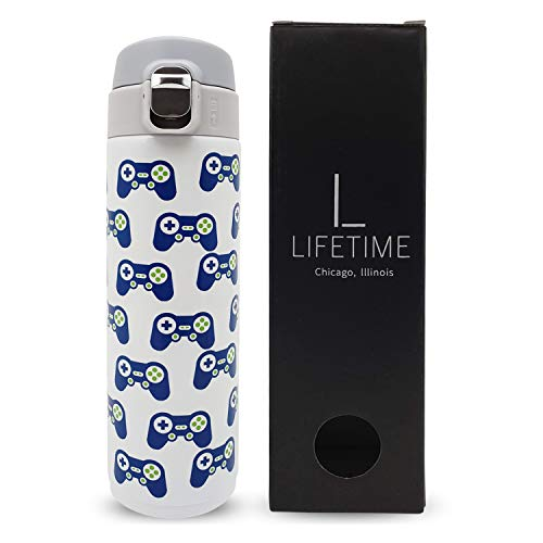 Kids Water Bottle Stainless Steel, Video Game Design Boys Girls Teens Tweens Adults Cold Hot Leak-Proof Lock Lid No Straw Insulated Dishwasher Safe ()