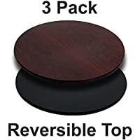 Flash Furniture 3 Pk. 24 Round Table Top with Black or Mahogany Reversible Laminate Top