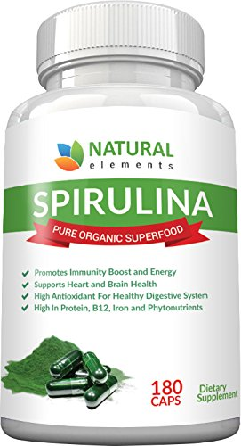 Spirulina Capsules Organic - Highest Quality Of Blue Green Algae From California & Hawaii without Pesticides  100% Vegetarian & Vegan  Non-GMO  Best Green Superfood - 30 Day Supply