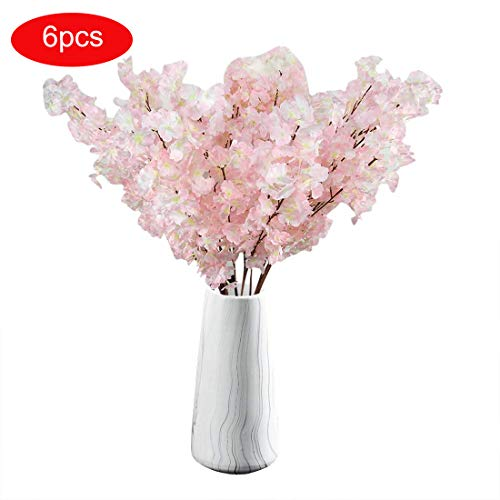 TtMarket Artificial Cherry Blossom Flowers Silk Fake Flowers 39-Inch Artificial Peach Branches Flowers Arrangements for Home/Wedding/Office Decoration - 6Pcs - Blossom Silk Cherry Branches