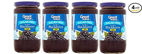 Great Value Sugar Free Seedless Blackberry Jam, 13 oz (80% Fewer Calories Than Regular Jam) - Pack of 4