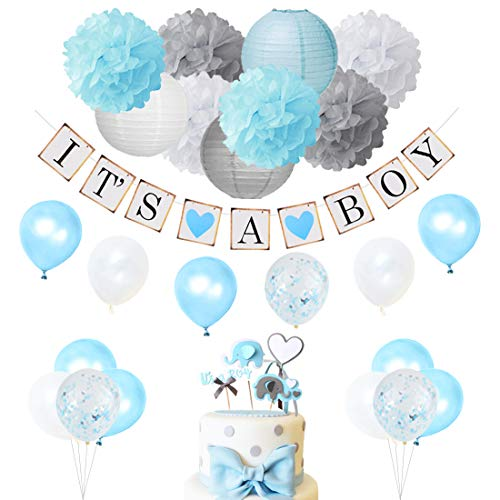 Baby Shower Decorations for Boy Blue and Gray with It's a Boy Banner, Confetti Balloons and Cake Topper Elephant Boy Baby -