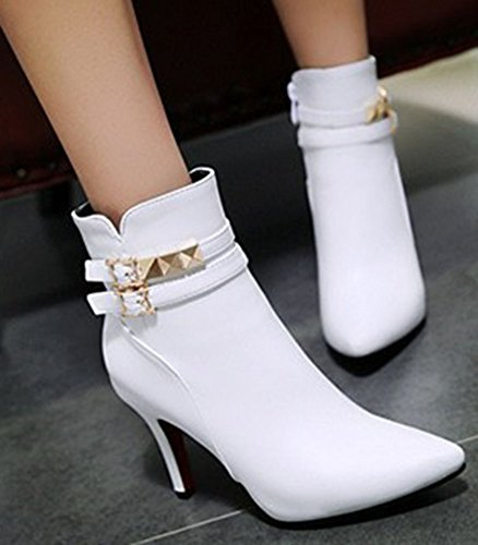 Side Sweet Pointed Studded Zipper Stiletto High Women's Ankle Easemax Short White Booties Heel High Toe qR5tw
