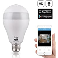 Tento Security Camera Bulb 960P Wifi Wireless IP Bulb Hidden Camera with Fisheye Lens 360° Panoramic for Remote Home Security System,Motion Detection Two WayTalking Panoramic E26 Security Camera Lamp
