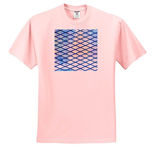 Price comparison product image 3dRose Alexis Photography - Abstracts - Image of Blue Rhomb Grid, Soft Colors Backdrop. Industrial Abstract - T-Shirts - Youth Light-Pink-T-Shirt Large(14-16) (ts_285869_46)