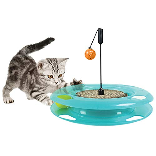 RABILTY Papel Corrugado Gato Scratch Board Juego de Puzzle Track Ball Single Layer Cat Turntable Cat Toy. (Color : Blue, Size...