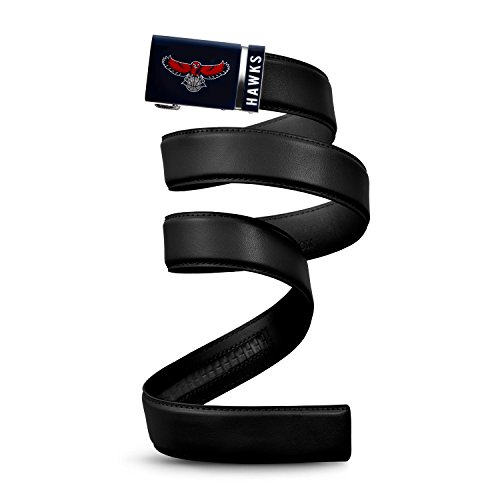 "Mission Belt NBA Atlanta Hawks, Black Leather Ratchet Belt, Medium (Up to 35"")"