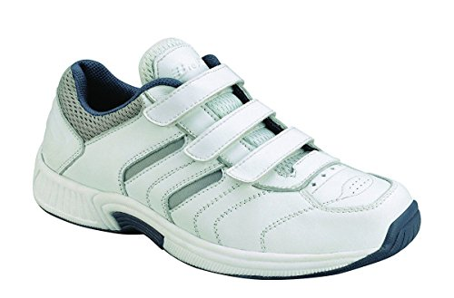 (Orthofeet Foot Pain Relief Orthopedic Diabetic Arthritis Adjustable Strap Mens Sneakers Athletic Shoes Ventura White)