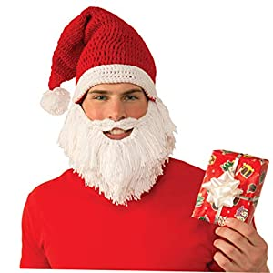 453ccded Forum Santa Knit Hat With Attached Beard & Moustache Adult Costume, As  Shown, One Size