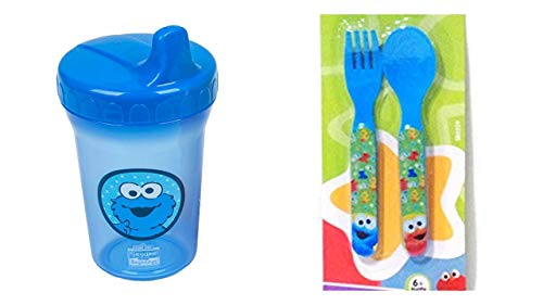 (Sesame Beginnings Spill Proof Cup Cookie Monster, 8 Ounce Bundle with 2 Piece Utensils Fork and Spoon, Blue)