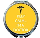 Rikki Knight Keep Calm I'm a Doctor Yellow Color Design Round Compact Mirror