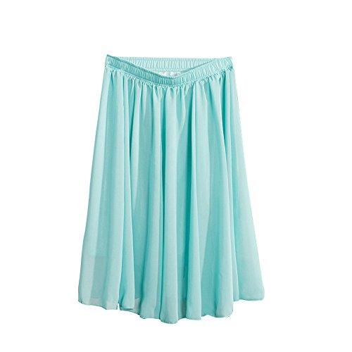 MISSMAO Jupe Femmes Fille Midi Taille Haute Vintage lgante Jupe Basique Plisse Patineuse Elastique Pliss Casual Cocktail Bleu Ciel
