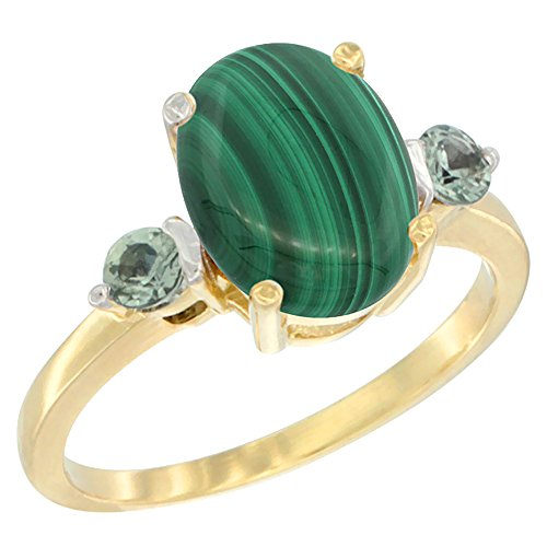 ral Malachite Ring Oval 10x8mm Green Sapphire Accent, size 7.5 (10x8mm Oval Cut Sapphire)