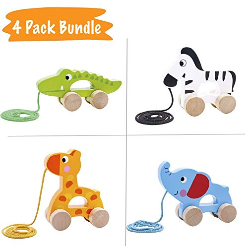 (Pidoko Kids Pull Along Walking Toys - Bundle Toy Gift Packs Set of 4 Animals - Giraffe, Zebra, Elephant and Crocodile - Toys For 1 Year Old And Up - Toddler Babies Boys And Girls)