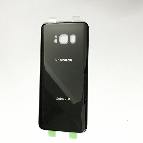 Battery Door Back Cover Glass Housing Case Battery Cover Adhesive Sticker For Samsung Galaxy S8 G950 with Two LOGO (Black)