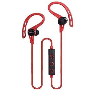 Aobiny Earphone Bluetooth Wireless Headset Stereo Headphone Earphone Sport Universal Handfree (Red)