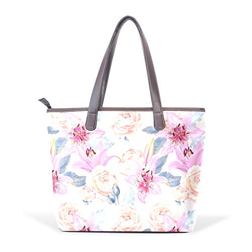 - White Rose Pink Lily Women Shoulder Bags for leather Large Ladies Tote Bag Shopping Bag