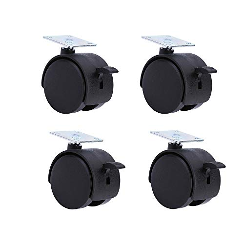 LYNN Furniture Caster,4 Pieces 1.5 Inches / 2 Inches Universal Wheel,with Brake Lock,Nylon,Cabinet Table Castor Wheels Wear Resistant/Black / -