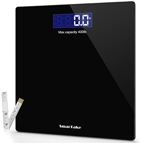 SMARTAKE Weight Scale, Precision Digital Body Bathroom Scale with Step-On Technology, 6mm Tempered Glass Easy Read Backlit LCD Display, 400 Pounds,Black
