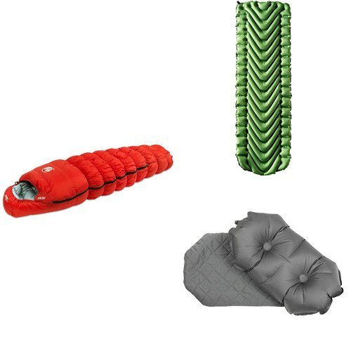 Camper's Essential Bundle with Sleeping Bag, Sleeping Pad, and Pillow ()