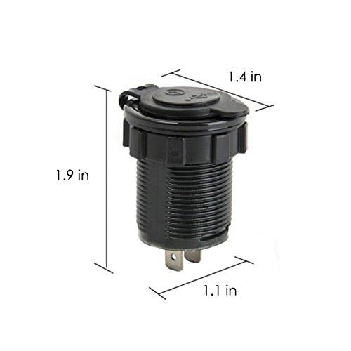 Cigarette Lighter Socket, Leyeet Dual USB Portable Waterproof LED Digital Display Voltage Volt Meter Monitor Power Adapter Charger Outlet for 12V/24V Car Marine Motorcycle (Green) by Leyeet (Image #4)