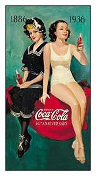 Poster Discount Coca-Cola Tin Metal Sign : 50th Anniversary Bathers, 9x16