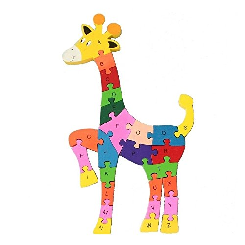 Wooden Building Blocks Puzzle 26 English Alphanumeric Children Educational Toys Cognitive Intelligence Puzzle Toys Children Gift (Sika deer)
