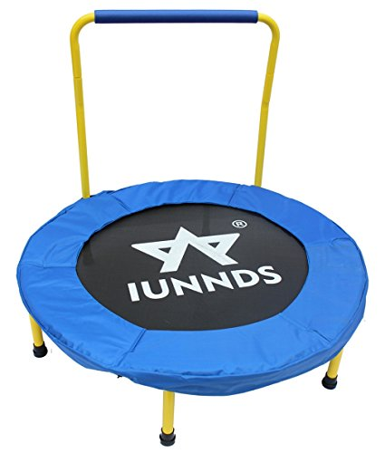 KLB Sport 36' Mini Foldable Trampoline with Handrail for Kids Ages 3 to 8 (Blue & Yellow)