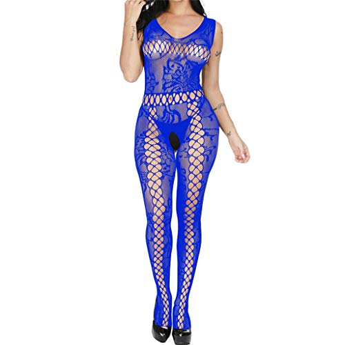 Costume Women's Sexy Floral Deep U-Neck Long Sleeve Bodycon Long Pants Jumpsuit Rompers Blue