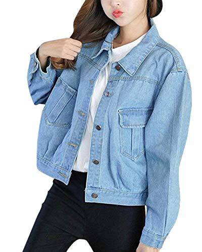 Vintage Hell Manica Marca Corto Di Lunga Autunno Blau Bavero Giaccone Slim Button Colori Giacche Cappotto Donna Festiva Elegante Mode Con Fit Solidi Jeans Colore Outerwear Casuali Puro Primaverile Tasche 0XnwxT5p8q