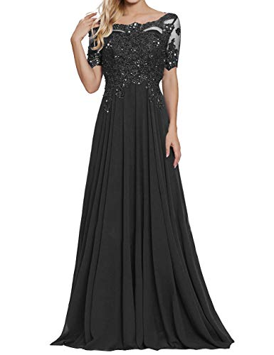 Chiffon Formal Dresses Scoop Neck Mother of The Bride Dress Evening Gowns Black US14 (Sleeves Lace Applique)
