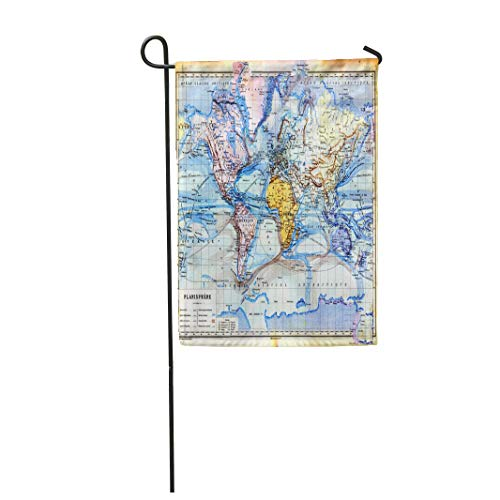 Tarolo Decoration Flag The Old Map of Planisphere World Colors in It Vintage from Late 19Th Century Trousset Encyclopedia 1886 1891 Thick Fabric Double Sided Home Garden Flag 12