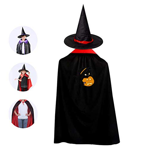 69PF-1 Halloween Cape Matching Witch Hat Black Cat Kitten Wizard Cloak Masquerade Cosplay Custume Robe Kids/Boy/Girl Gift -