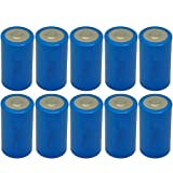 10 Pack D Cell Battery ER34615 3.6V 19000mAh Lithium Battery Button Top