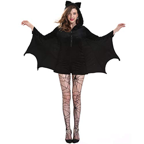 Gloria&Sarah Women's Plus Size Cozy Vampire Bat Halloween Costume Dress Up, Black,XL