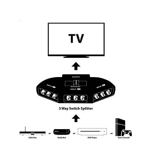 generic 3 way audio video rca switch selector splitter box