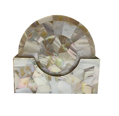 Decorative Mother of Pearl Coaster Set MOP coaster gift item home decor corporate gift Unique Coaster (White (Coaster Pearl)