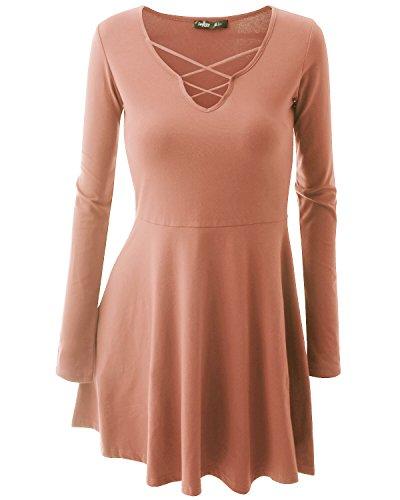 [JayJay Women Crisscross Neck Maxi Soft Indianpink Contrast Flare Dress,Large] (Maternity Fancy Dress Uk)