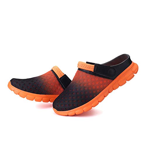 RUSLAN Breathable Mesh Clogs Sandals Women Man Summer Quick Dry Lightweight Slippers for Garden Beach Outdoor Indoor Orange