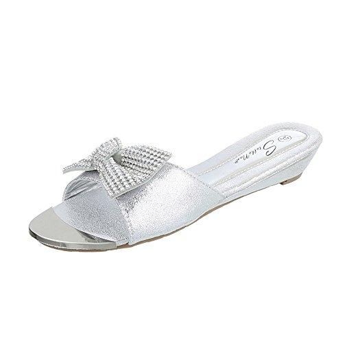 730b675da9cf47 Ital-Design Pantoletten Damenschuhe Jazz   Modern Keilabsatz Wedge Strass  Besetzte Sandalen Sandaletten