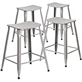 Flash Furniture 4 Pk. 24'' High Silver Metal Indoor-Outdoor Counter Height Saddle Comfort Stool