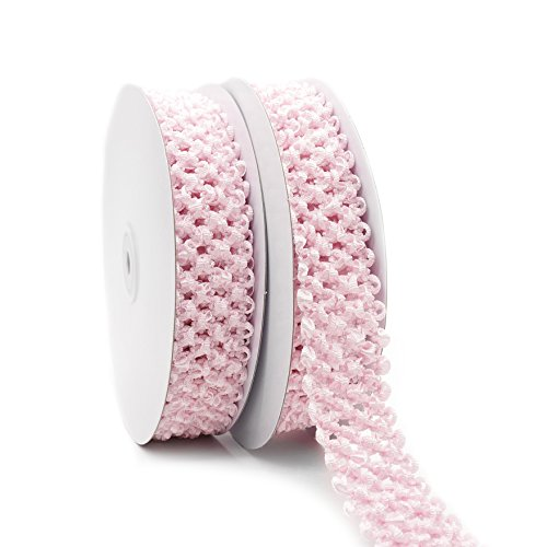 Elastic Crochet Headband Ribbon, 1-1/4 inch (30mm) x 5 Yards x 2 Rolls,Precious Pink Hair Accessories, Hair Bow, Waistband for Baby, boy and (Pink Crochet Headband)
