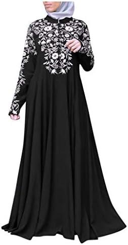 Women Ethnic Embroidery Abaya Muslim Long Maxi Dress Islamic Kaftan Robes Jilbab