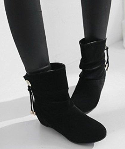 Shoes On Heighten Heels Suede Faux Sweet Aisun Black Women's Boots Slip z1x4q