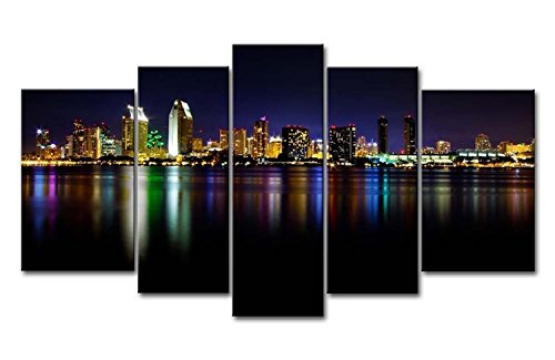 Yuanclllp - City Landscape Paintings Wall Art San Diego Colorful Reflection Sea 5 Panel Picture Print on Canvas for Modern Home - Painters Diego San