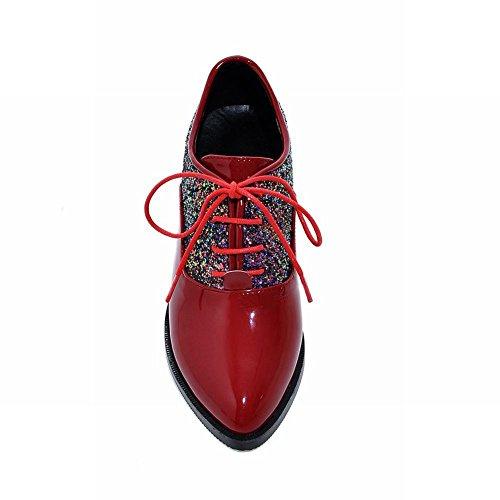 Charm Foot Mujeres Fashion Lentejuelas Charol Lace Up Oxford Zapatos Rojo