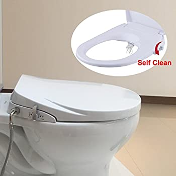 Hibbent Round/Standard Toilet Seat with Bidet - No batteries or Electrical Power need - Hygienic Washing Bidet Seat with Self Cleaning(SC208)