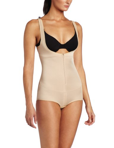 Heavenly Shapewear Women's Wear Your Own Bra Zip Front Bodysuit, Nude, 1X