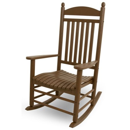 Patio Recycled Plastic Rocking Chair, Weather Resistant, Garden Chair, Outdoor Setting, Elegance and Functionality Furniture, Multiple Colors + Expert Guide (Teak)